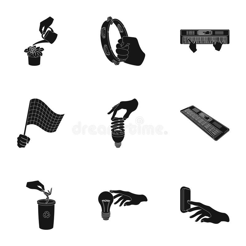 Musical instrument, garbage and ecology, electric applianc and other web icon in black style. Megaphone, finishing. Musical instrument, garbage and ecology royalty free illustration