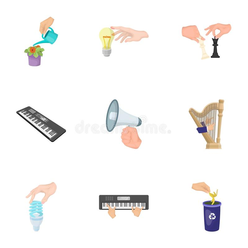 Musical instrument, garbage and ecology, electric applianc and other web icon in cartoon style. Megaphone, finishing. Musical instrument, garbage and ecology vector illustration