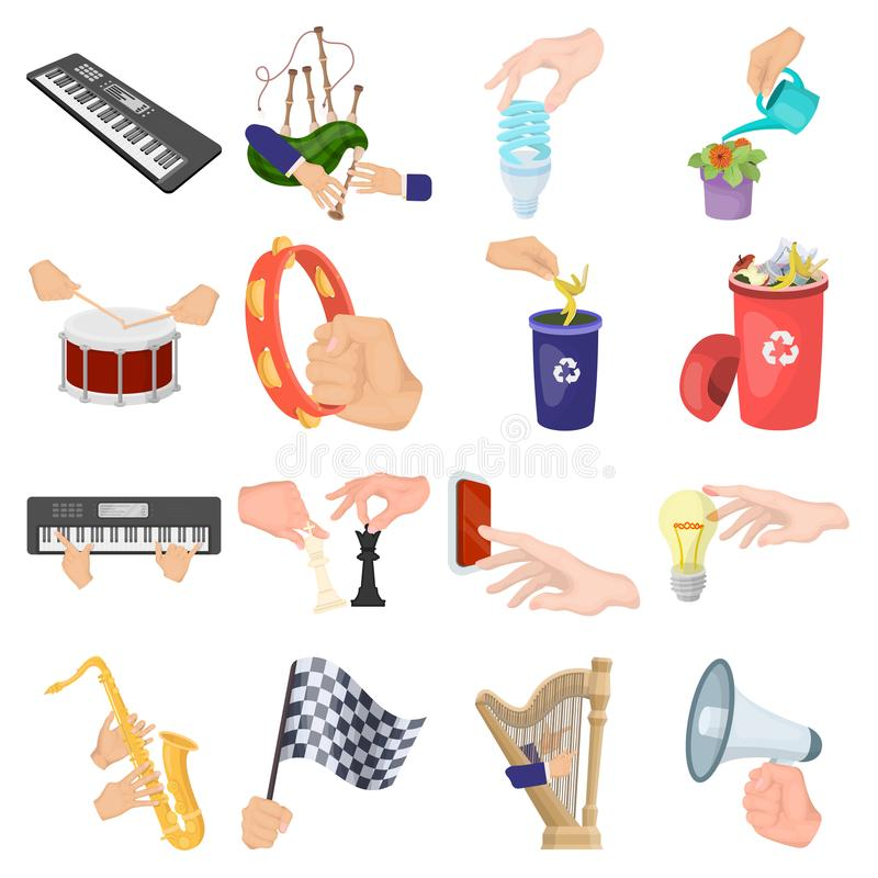 Musical instrument, garbage and ecology, electric applianc and other web icon in cartoon style. Megaphone, finishing. Musical instrument, garbage and ecology stock illustration