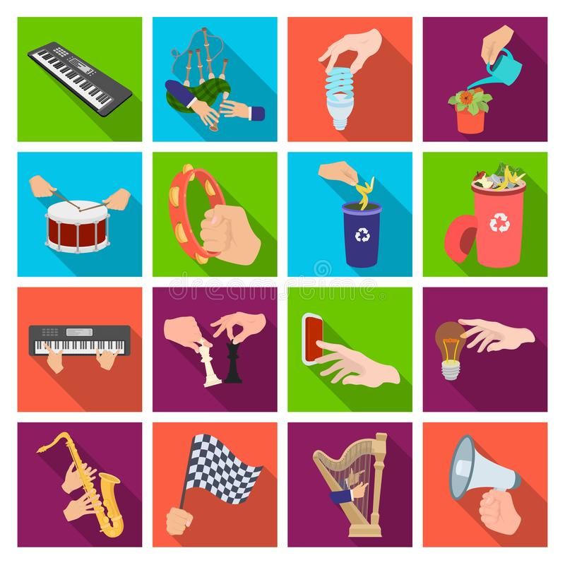 Musical instrument, garbage and ecology, electric applianc and other web icon in flat style. Megaphone, finishing. Musical instrument, garbage and ecology royalty free illustration
