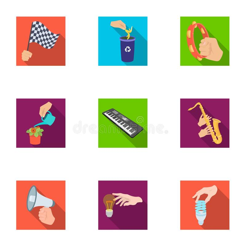 Musical instrument, garbage and ecology, electric applianc and other web icon in flat style. Megaphone, finishing. Musical instrument, garbage and ecology vector illustration