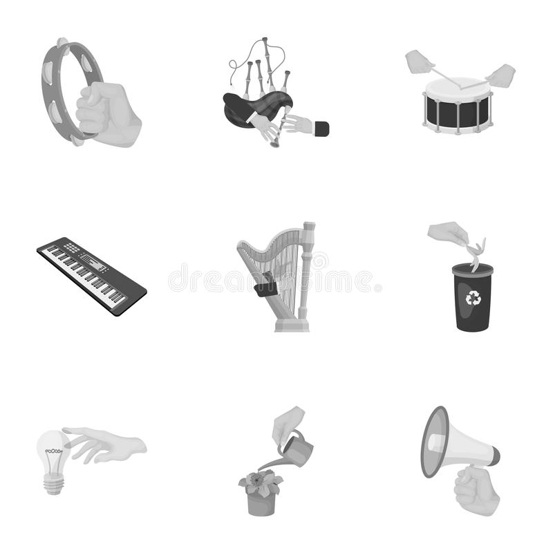 Musical instrument, garbage and ecology, electric applianc and other web icon in monochrome style. Megaphone, finishing. Musical instrument, garbage and ecology royalty free illustration