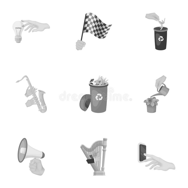 Musical instrument, garbage and ecology, electric applianc and other web icon in monochrome style. Megaphone, finishing. Musical instrument, garbage and ecology stock illustration