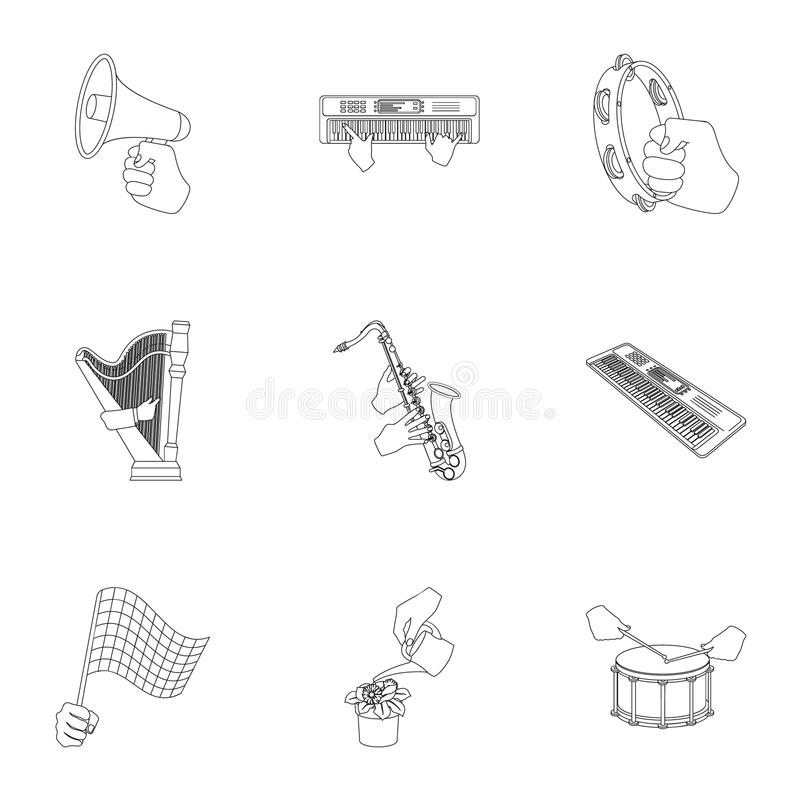 Musical instrument, garbage and ecology, electric applianc and other web icon in outline style. Megaphone, finishing. Musical instrument, garbage and ecology stock illustration