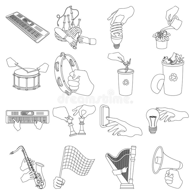 Musical instrument, garbage and ecology, electric applianc and other web icon in outline style. Megaphone, finishing. Musical instrument, garbage and ecology royalty free illustration