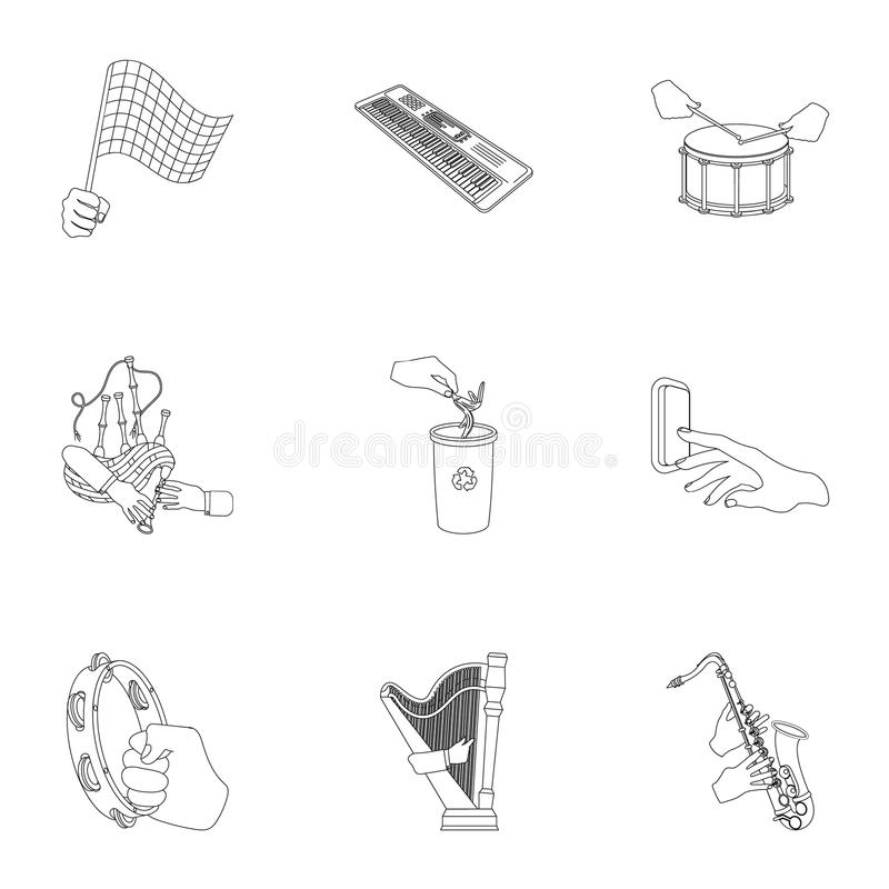 Musical instrument, garbage and ecology, electric applianc and other web icon in outline style. Megaphone, finishing. Musical instrument, garbage and ecology vector illustration