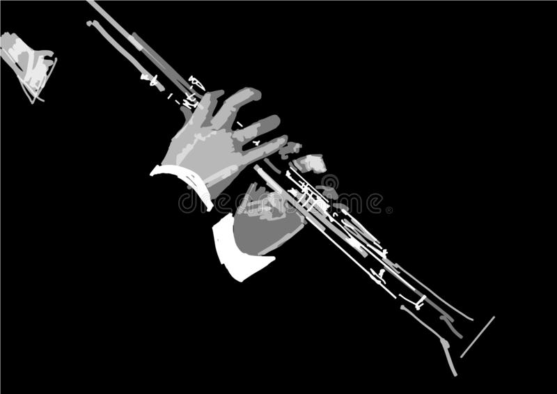 Flute close up. Musical instrument in the hands close up. Black and white vector illustration royalty free illustration