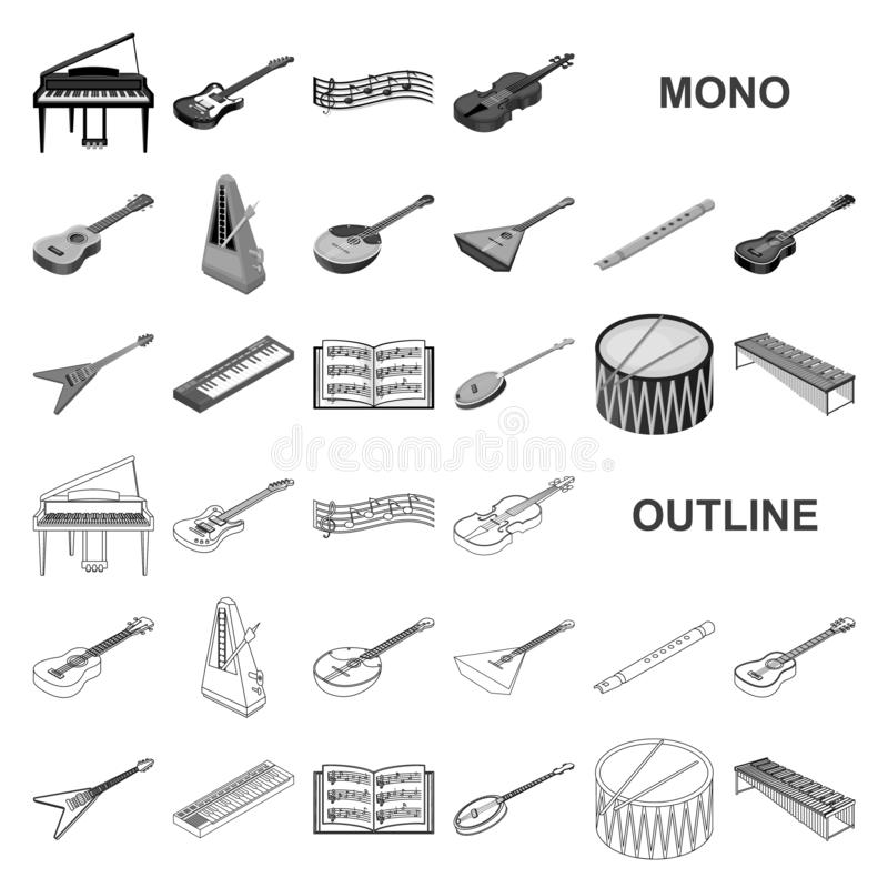 Musical instrument monochrom icons in set collection for design. String and Wind instrument isometric vector symbol. Stock illustration royalty free illustration
