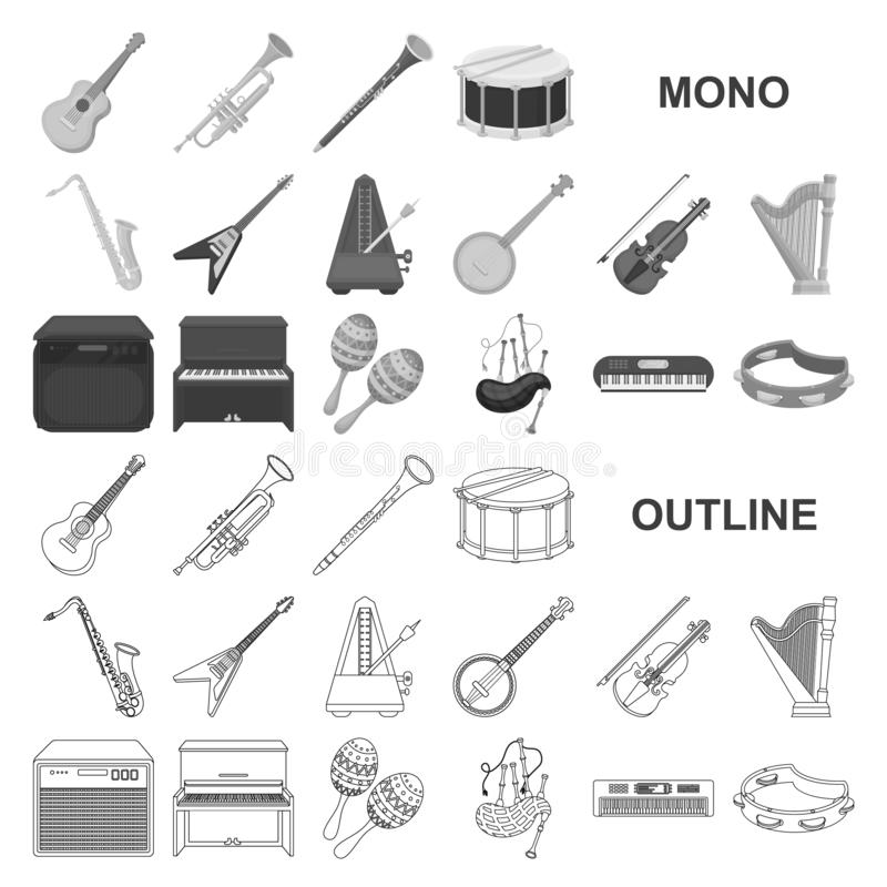 Musical instrument monochrom icons in set collection for design. String and Wind instrument vector symbol stock web. Musical instrument monochrom icons in set royalty free illustration