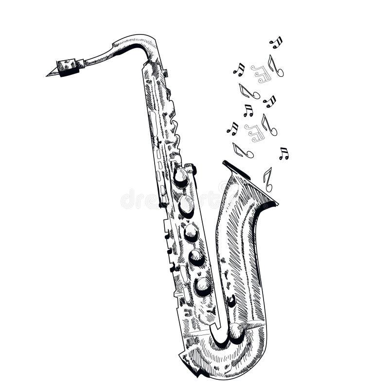 Musical instrument saxophone on white background vector - Dessin saxophone ...