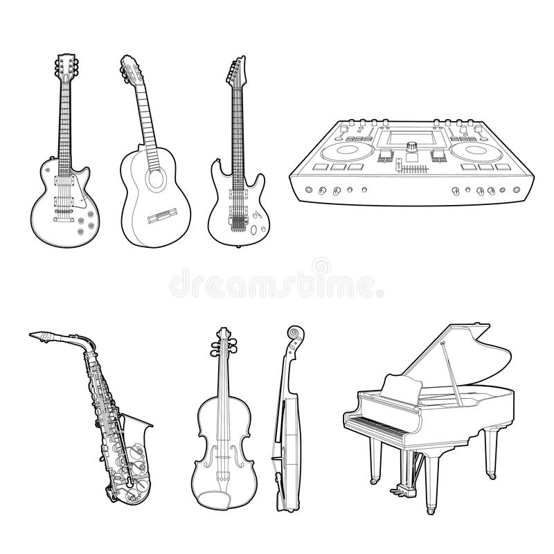 Download Musical instrument set stock vector. Image of piano, background - 25025085