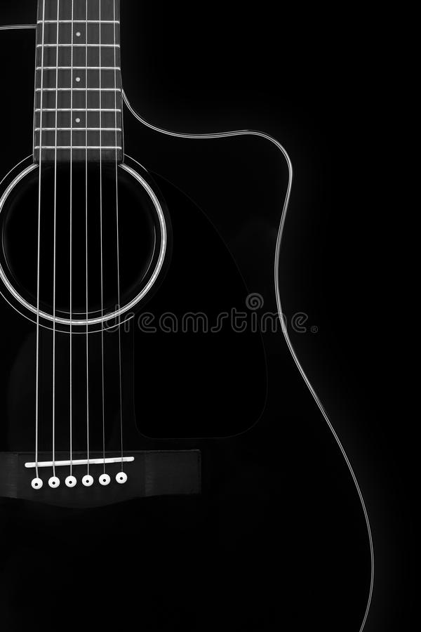 Musical instrument - Silhouette of a black acoustic guitar royalty free stock photo