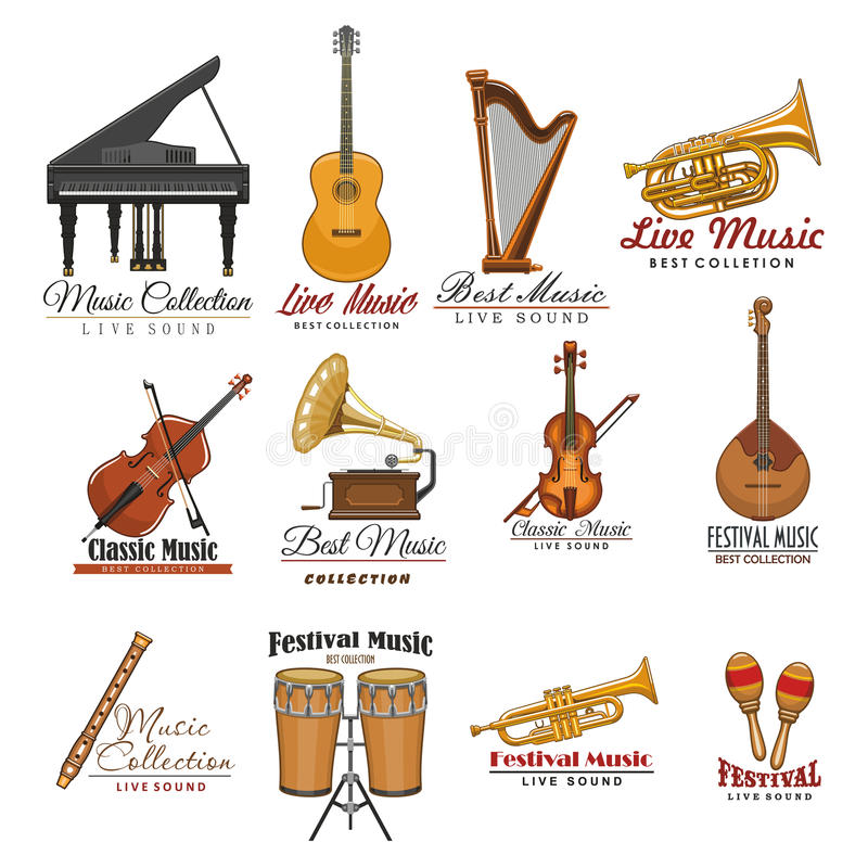 Musical instrument symbol set for music design royalty free illustration