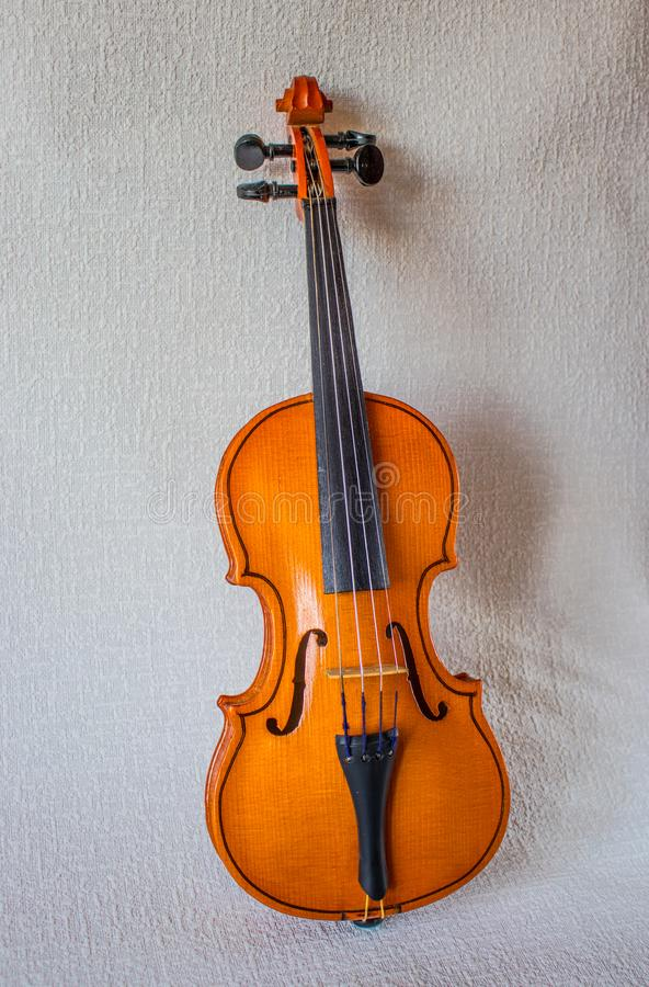 Musical instrument, violin, brown, located on a light background royalty free stock image
