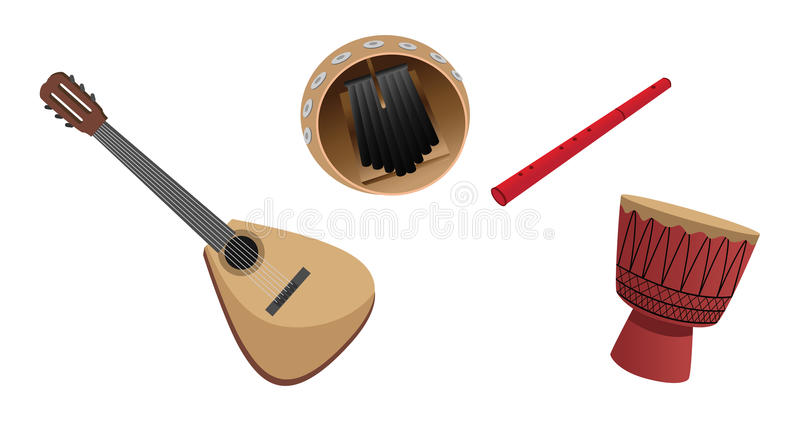 Musical instruments. Cartoon illustration of musical instruments royalty free illustration
