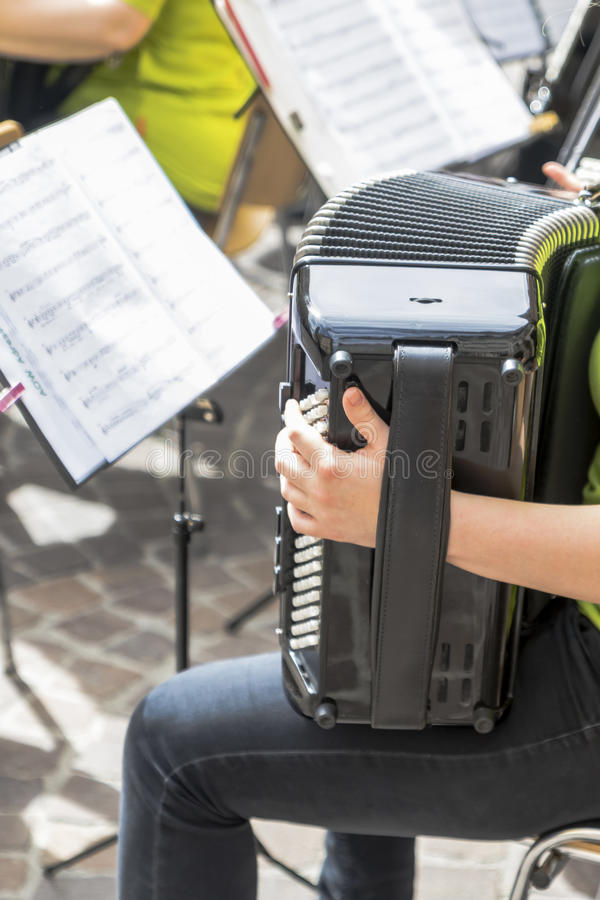 Musical instruments of a band. Musical instruments in a band playing in the street stock photo