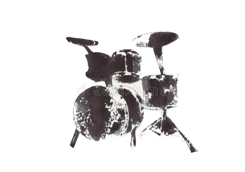 Drum, musical instruments, black and white graphics, abstraction stock illustration