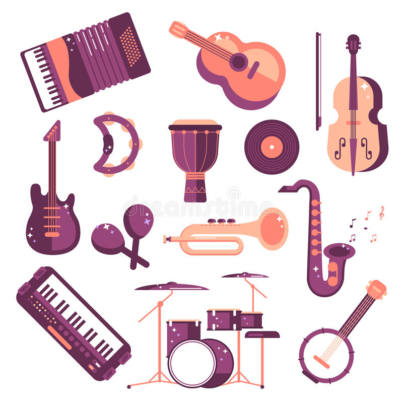 Musical instruments cartoon vector set synthesizer djembe drum violin saxophone accordion tambourine maracas trumpet drive. Cute musical instruments cartoon set royalty free illustration