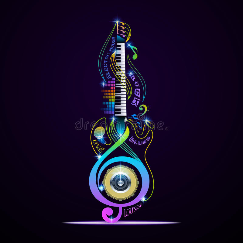 Musical instruments collage for rock, jazz, blues, lounge, electronic, live. royalty free illustration
