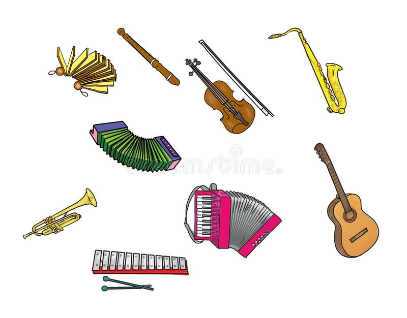 Musical instruments. Cute musical instruments for children's books vector illustration
