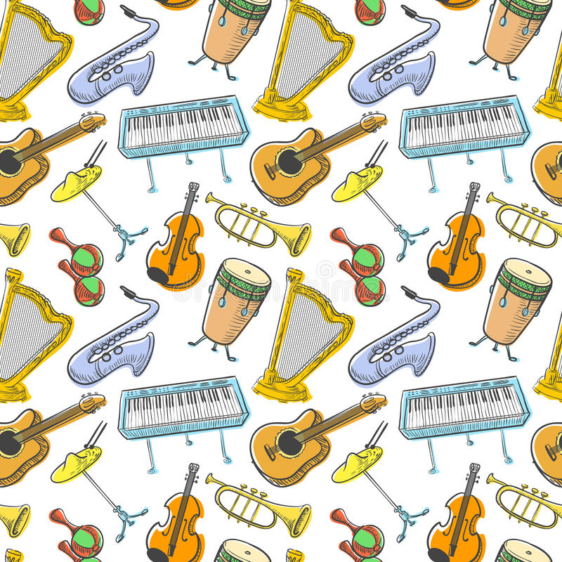 Musical instruments doodle vecto rseamless pattern. Music background. Musical instruments doodle vecto rseamless pattern. Cute line art simply illustration with stock illustration