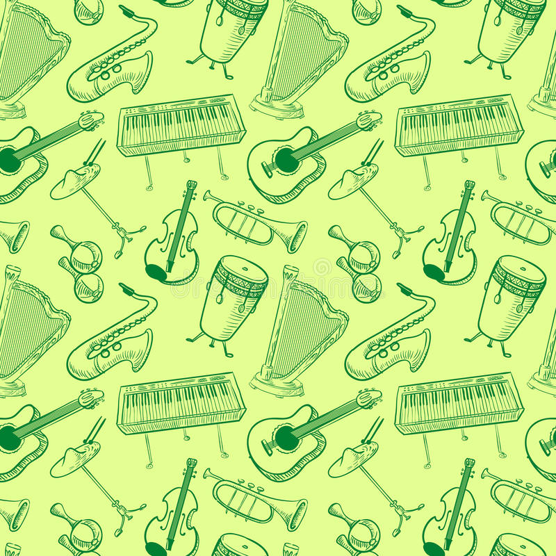 Musical instruments doodle vector rseamless pattern. Music backgr. Musical instruments doodle vector rseamless pattern. Cute line art simply illustration with royalty free illustration