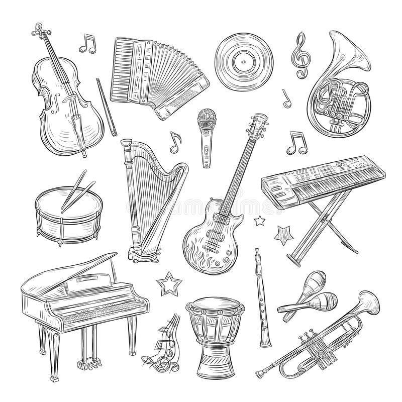 Musical instruments doodles. Drum flute synthesizer accordion guitar microphone piano musical notes retro hand drawn. Sketch vector set. Illustration of drum stock illustration