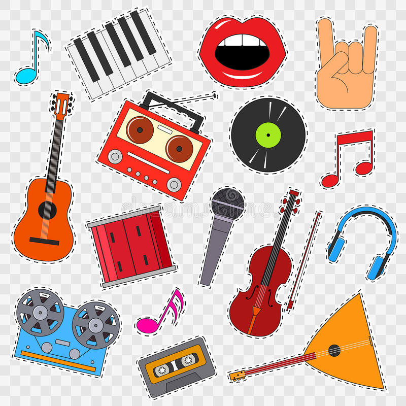 Musical Instruments and Equipment Sticker Set on a Transparent Background. Vector stock illustration