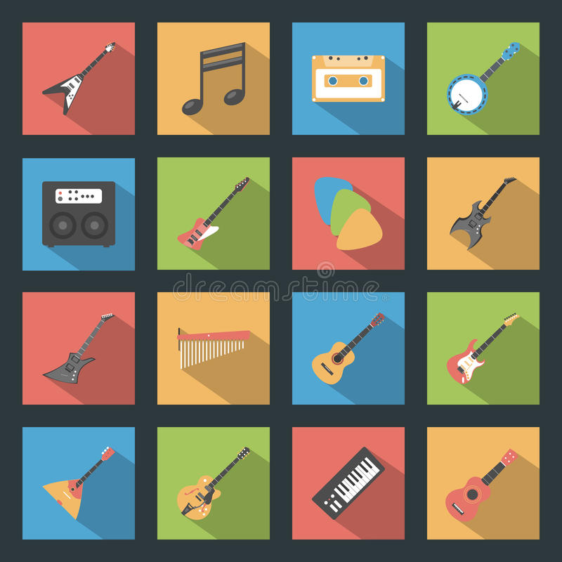 Musical Instruments flat icons set vector illustration