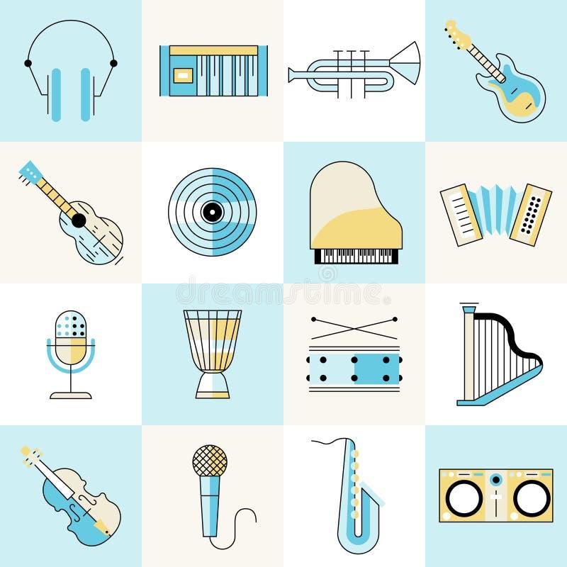 Musical instruments flat line set. Musical instruments flat line icons set with headphones keyboard trumpet guitar isolated vector illustration vector illustration