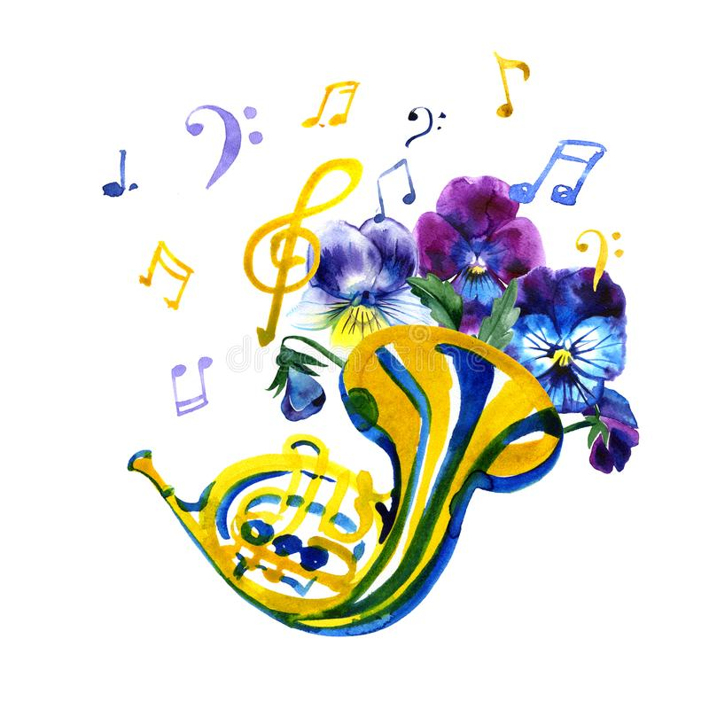 Musical instruments graphic template. Summer watercolor illustration. French horn. vector illustration
