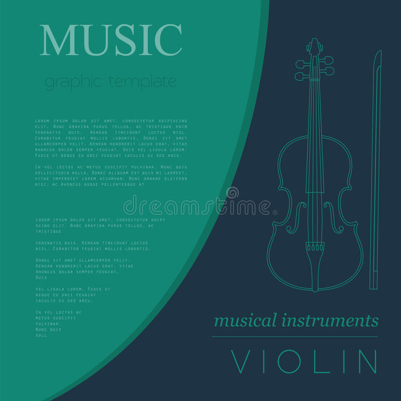Musical Instruments Graphic Template. Violin. Stock Vector