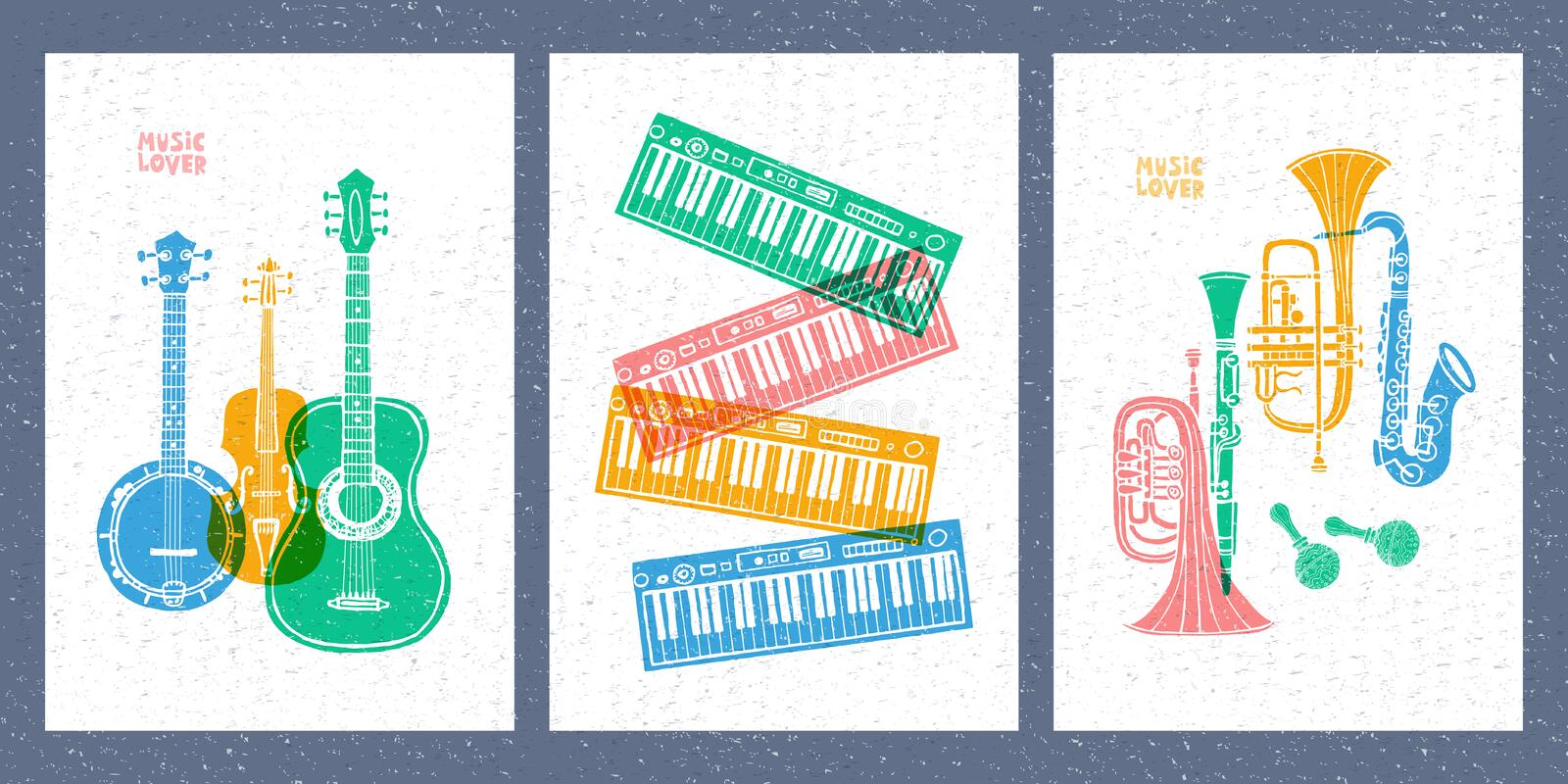 Musical instruments, guitar, fiddle, violin, clarinet, banjo, trombone, trumpet, saxophone, sax. Hand drawn vector illustration. Musical instruments, guitar royalty free illustration