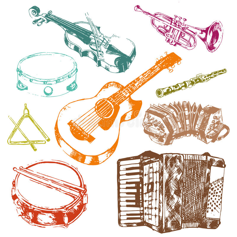 Musical instruments icons color set royalty free illustration