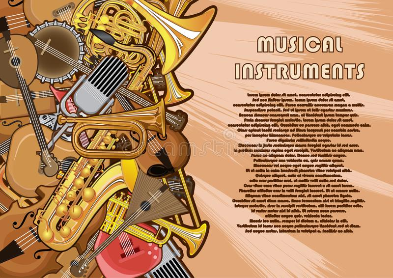 Musical instruments painted on a poster vector illustration
