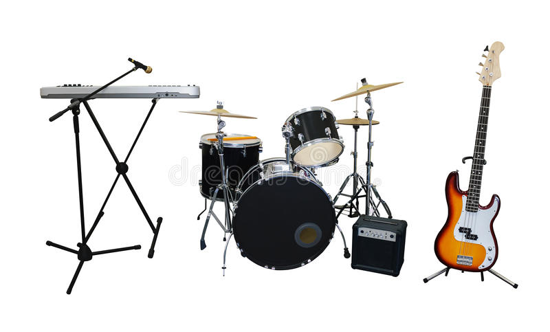 Musical instruments isolated. Set of musical instruments isolated on white background: guitar, synthesizer, combo amplifier and drums stock photos