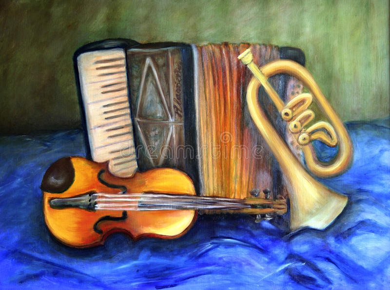 Musical instruments. Original painting of violin, accordion and trumpet on blue cloth stock illustration