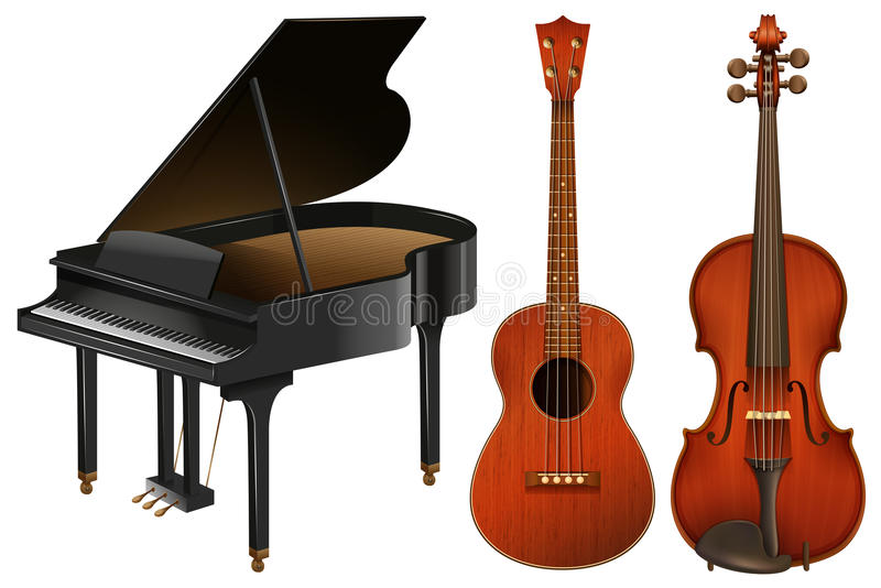 Musical instruments with piano and guitar royalty free illustration