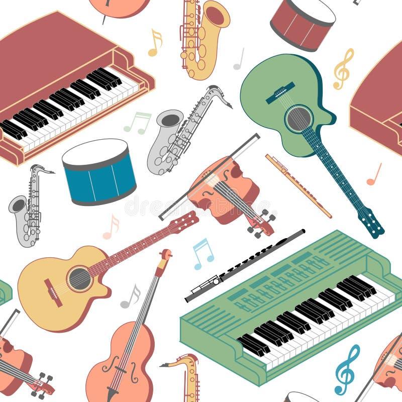 Musical instruments seamless pattern vector illustration