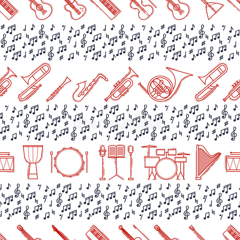 Musical instruments seamless pattern. Vector classic element illustration. Saxophone cello horn guitar piano harp and stock illustration