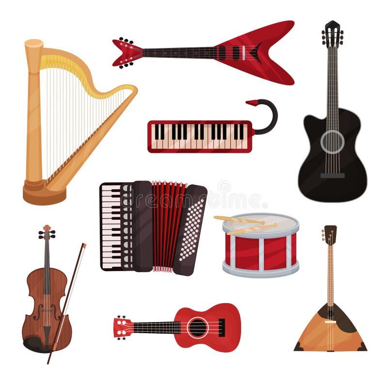 Musical instruments set, harp, synthesizer, guitars, accordion, balalaika, drum vector Illustration on a white. Musical instruments set, harp, synthesizer stock illustration
