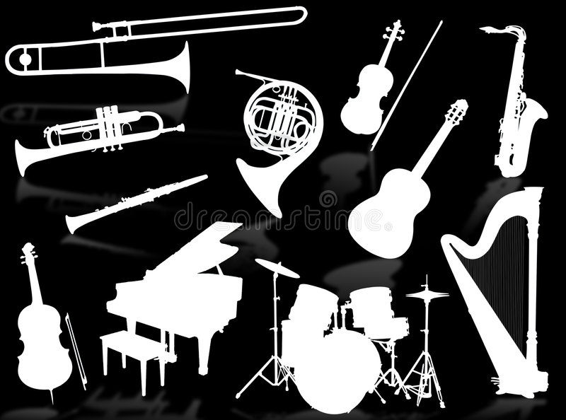 Musical instruments silhouettes vector illustration