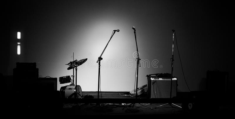 Musical Instruments. On stage before a band plays stock photos