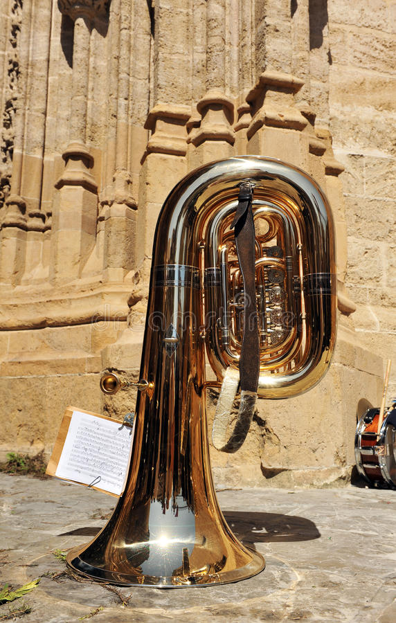 Musical instruments on the street, trombone, Seville, Spain. Musical instruments belonging to a brass band during a break royalty free stock image