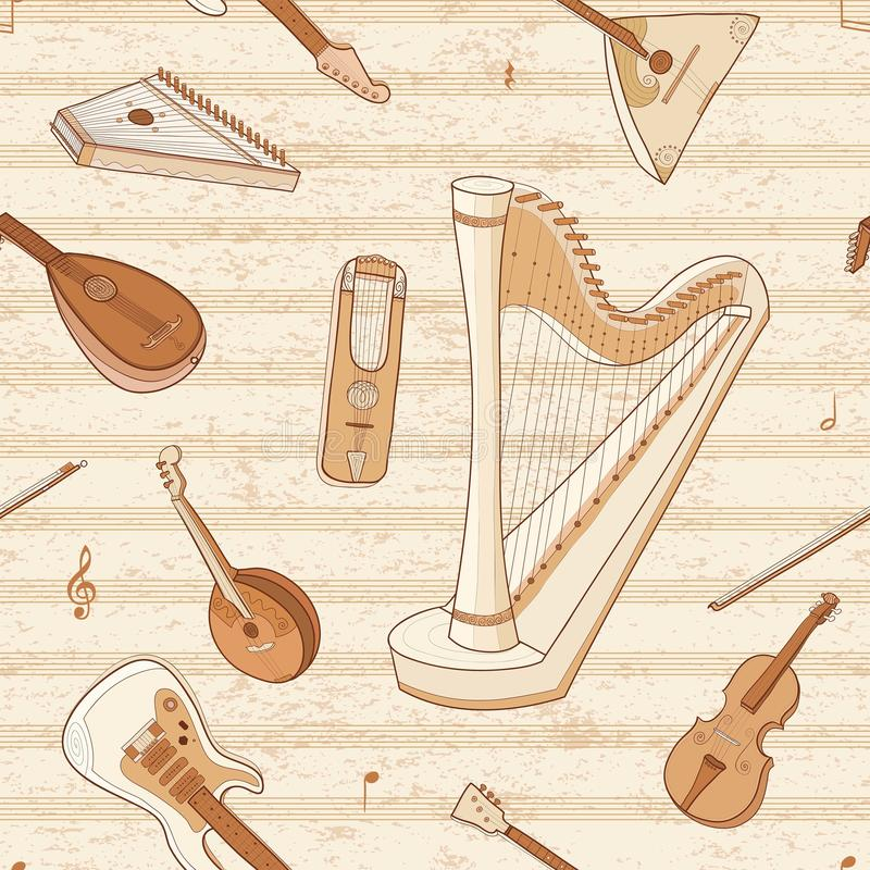 Musical instruments. String Instruments. Music background. Vector pattern with string musical Instruments. Wallpaper with guitar, harp, lute, lyre and violin stock illustration