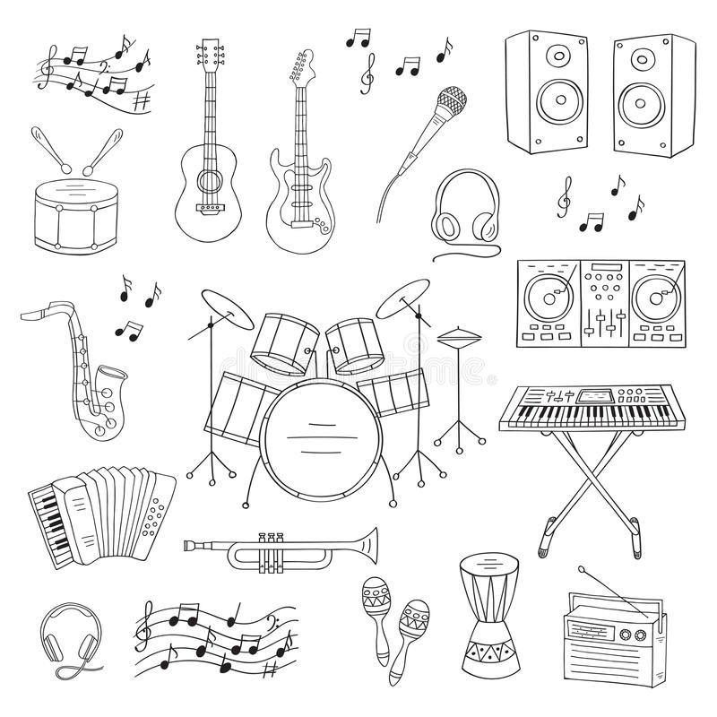 Musical instruments and symbols. Music icon set vector illustrations hand drawn doodle. Musical instruments and symbols guitar, drum set, synthesizer, dj mixer royalty free illustration