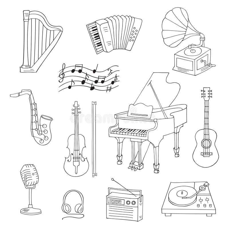 Musical instruments and symbols. Music icon set vector illustrations hand drawn doodle. Musical instruments and symbols piano, guitar, accordion, gramophone stock illustration