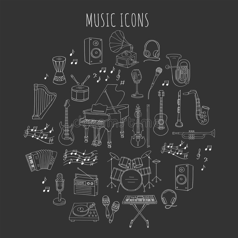 Musical instruments and symbols. stock illustration