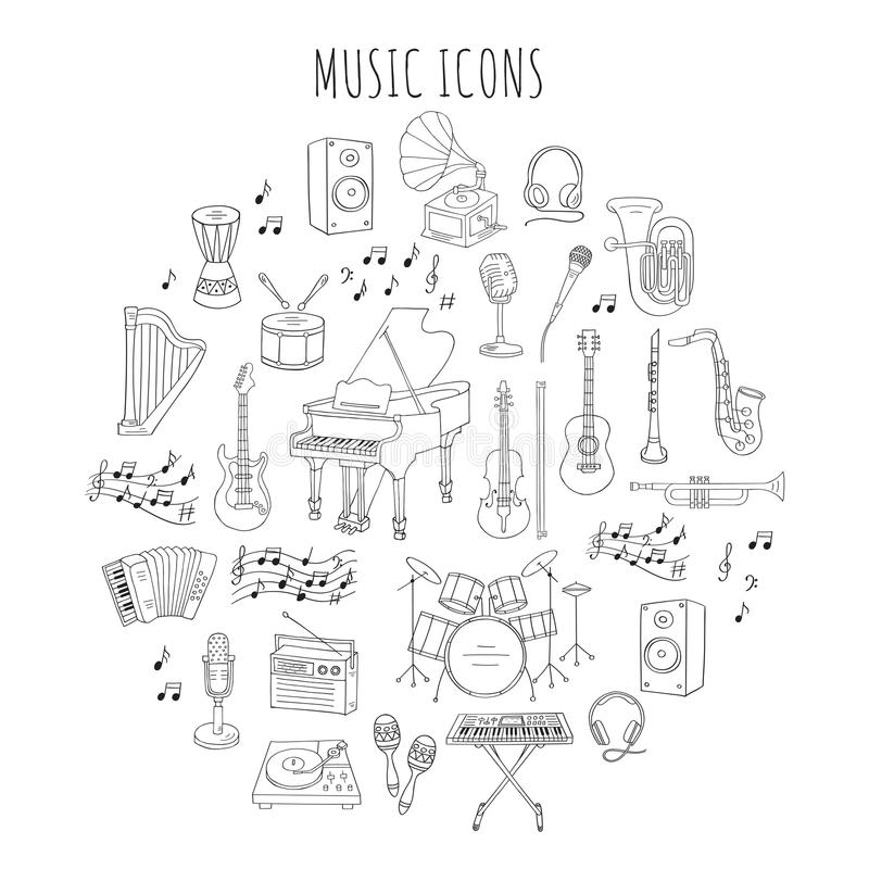 Musical instruments and symbols. Music icon set vector illustrations hand drawn doodle. Musical instruments and symbols piano, guitar, synthesizer, drum set royalty free illustration