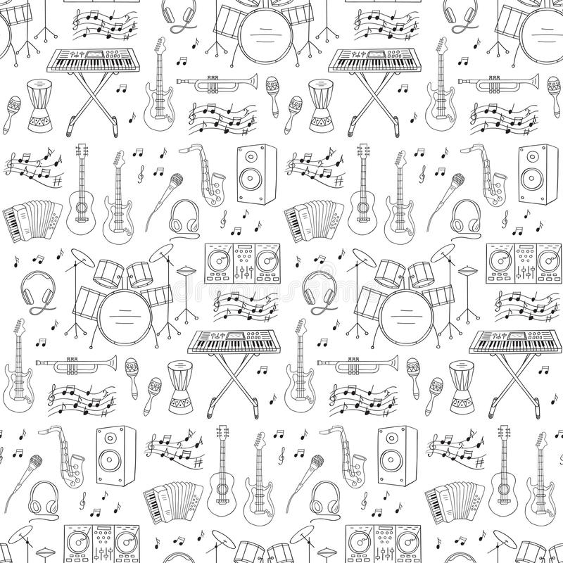 Musical instruments and symbols seamless background. Music icons vector illustrations hand drawn doodle seamless background. Musical instruments and symbols royalty free illustration